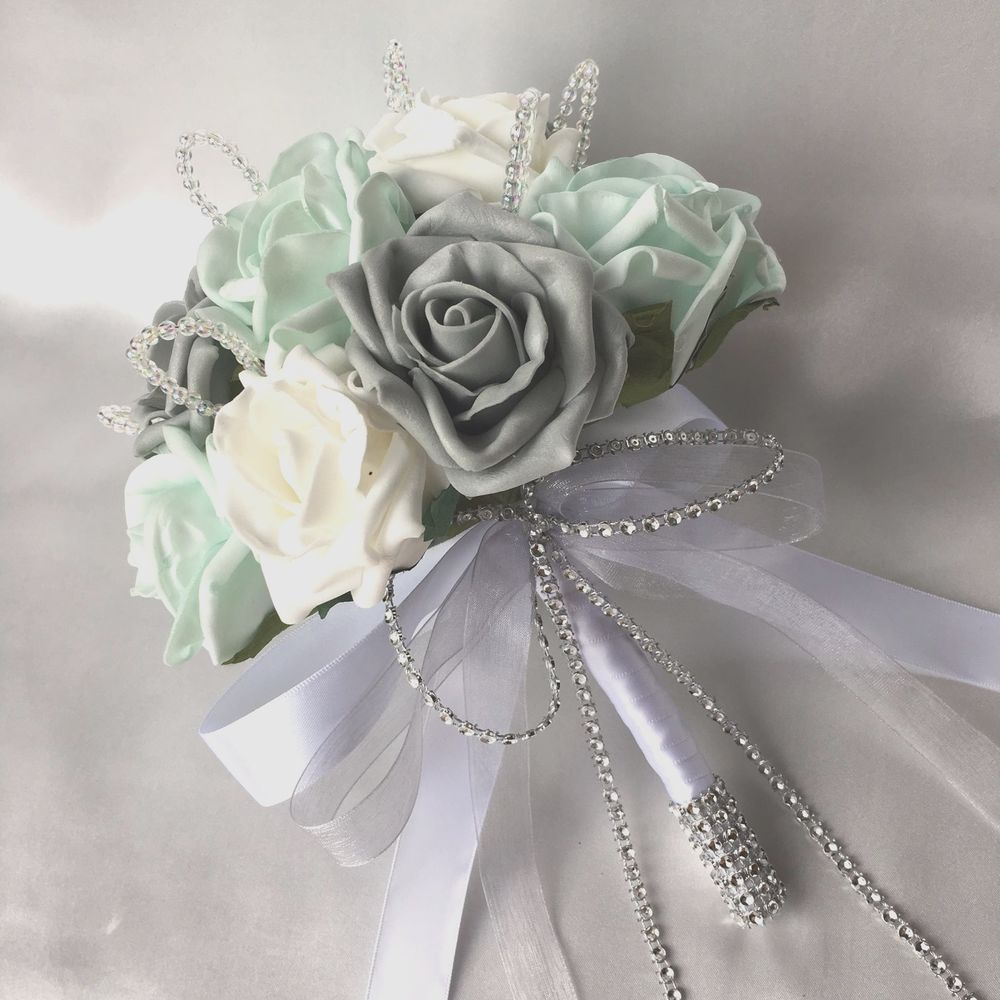 Bridesmaids Posy Bouquet with Mint Green, Grey and White