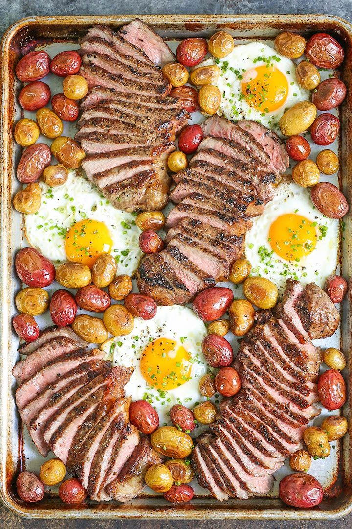 Sheet Pan Steak Eggs and Potatoes