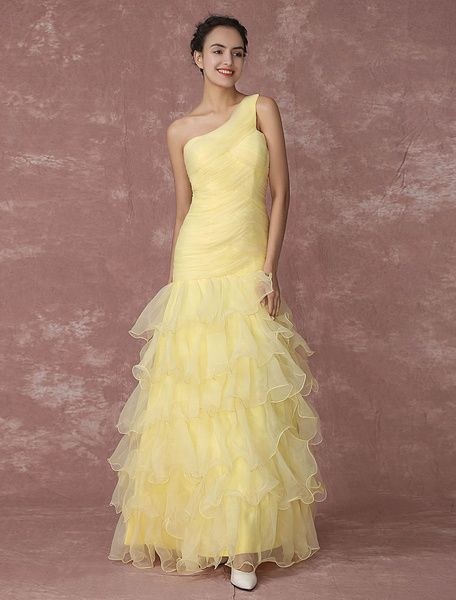be105ccefd16d Daffodil Pageant Dress One Shoulder Organza  Evening  Dress Ruffle Layered  Mermaid Ruched Prom Dress