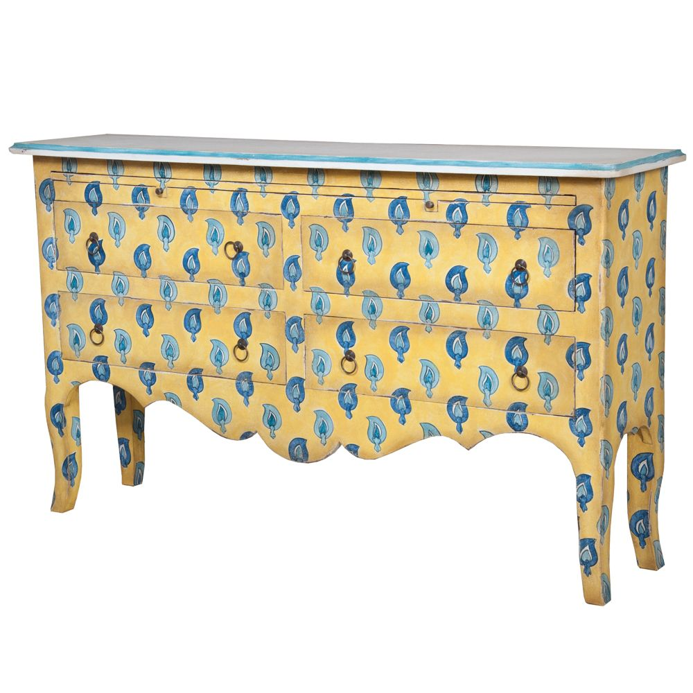 patterned after Portuguese tile art Sunnyside Painted Sideboard -paisley pattern