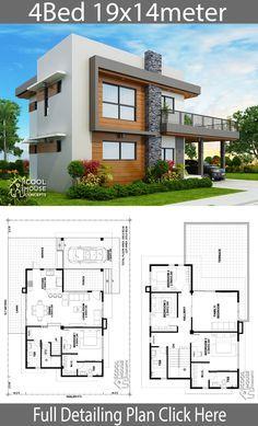 Home Design Plan 19x14m With 4 Bedrooms Maquetes De Casas Arquitetonico Projetos De Casas Modernas