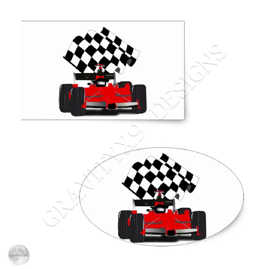 Red Race Car With Checkered Flag Rectangular Sticker Zazzle Com Red Race Kids Stickers Cool Stickers [ 900 x 900 Pixel ]