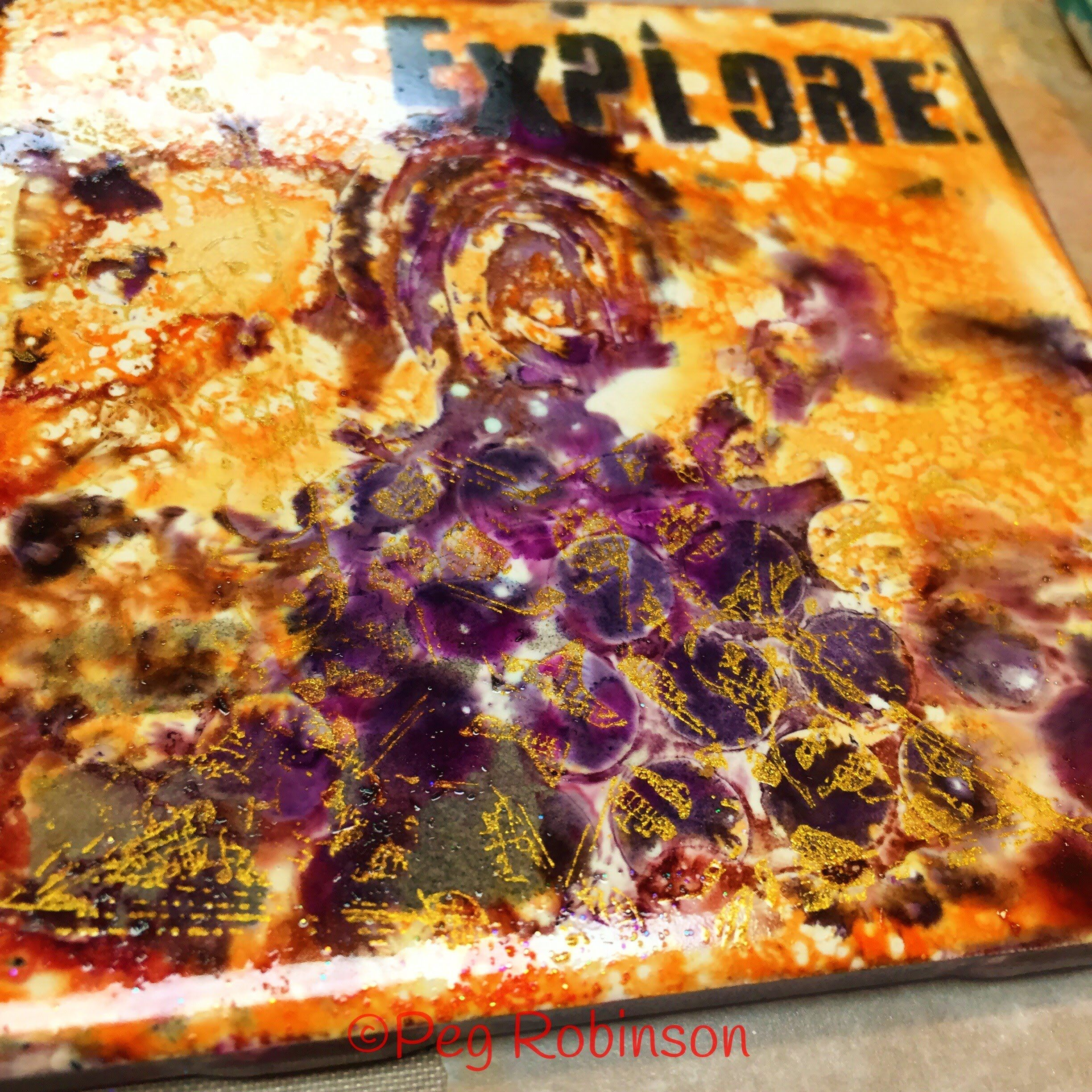 Alcohol Ink, Fire, Stencils, Stamps and Ceramic Tile Unite