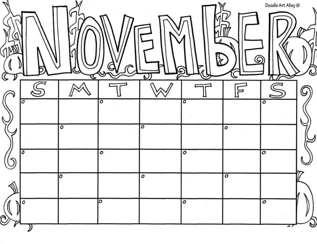 November Blank Calendar Coloring Sheets Educative Printable Coloring Pages Printable Calendar Pages Coloring Calendar
