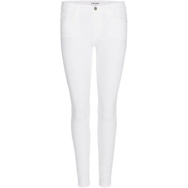 Frame Le Skinny De Jeanne Cropped Jeans ($140) ❤ liked on Polyvore featuring jeans, pants, white jeans, white, skinny fit denim jeans, super skinny jeans, cropped jeans and white cropped jeans