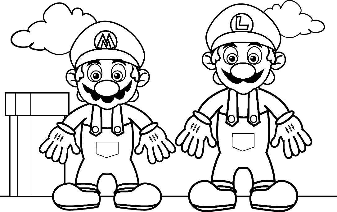 Luigi with Mario coloring pages Mario Bros games Mario Bros - new mario sunshine coloring pages