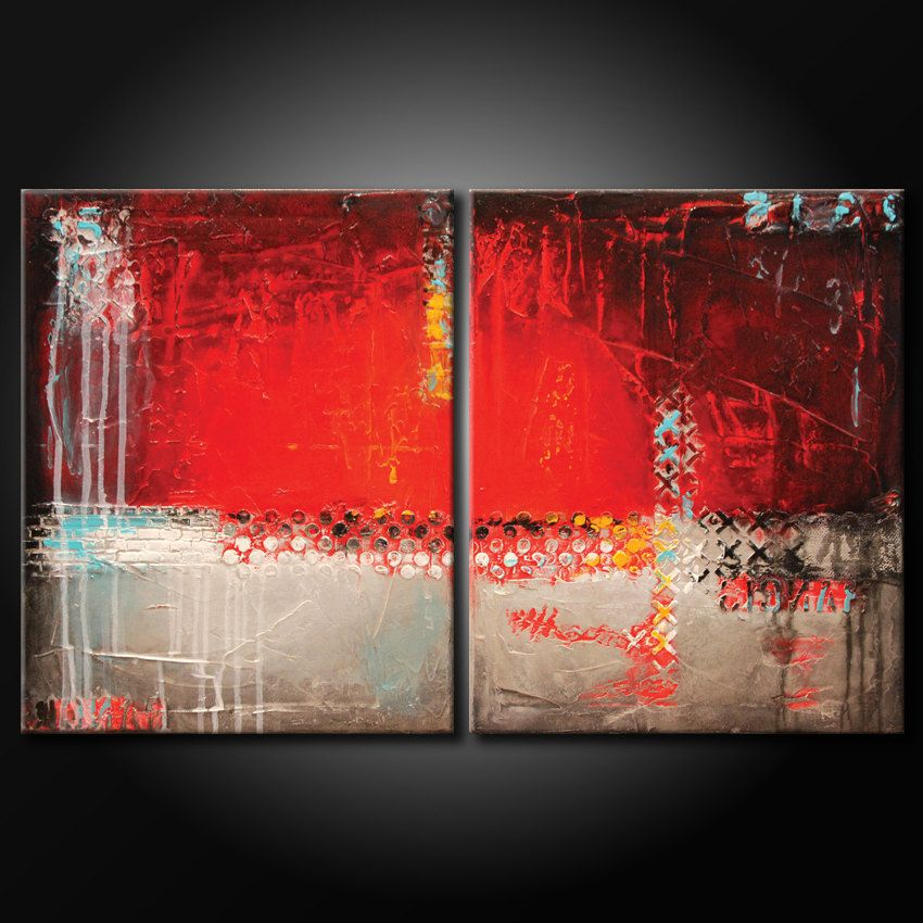 Modern abstract painting original textured 20x32 canvas for Textured acrylic abstract paintings