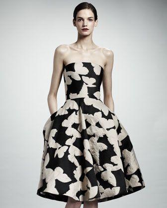 Strapless Butterfly Jacquard Dress, Black/Ivory
