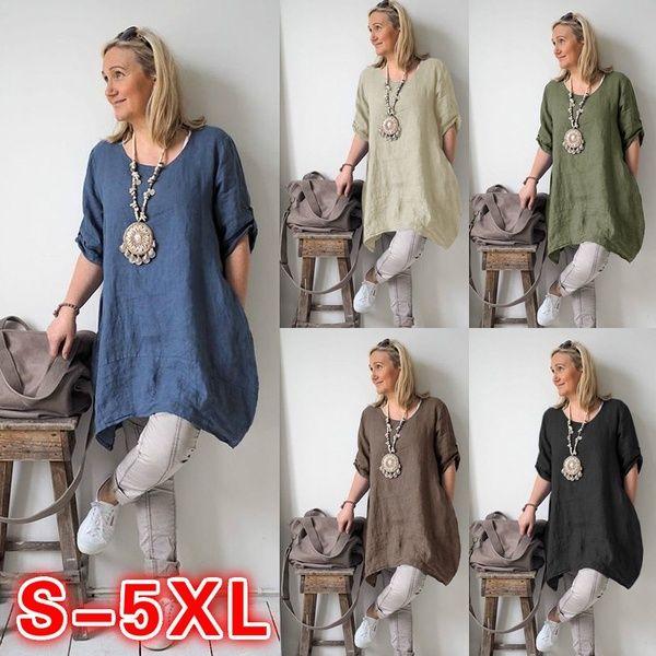 Tops Size Womens Baggy Tunic Boho Blouse Ladies Long Loose Plus T-Shirt Sleeve