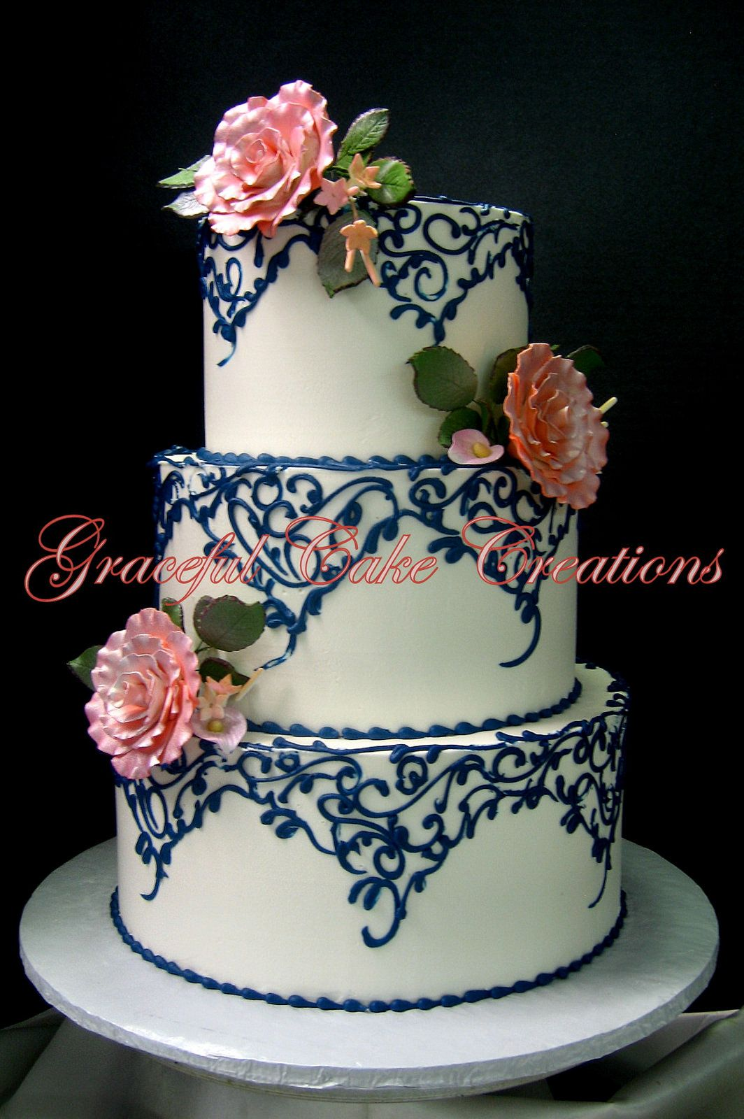 navy blue and rose gold wedding cake vintage ivory butter wedding cake with navy blue 17760