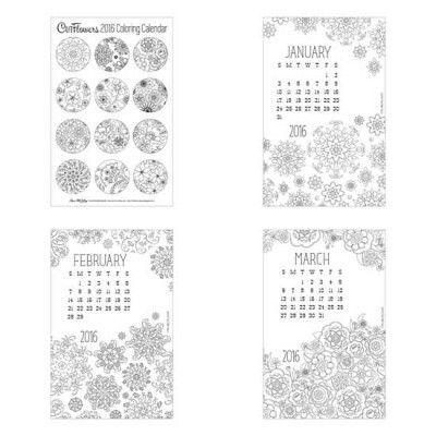 Adorable 2016 printable coloring calendar