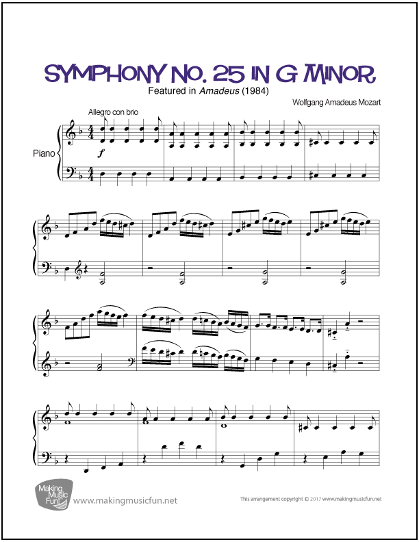 Symphony No. 25 in G Minor (Mozart)   Sheet Music for Piano ...