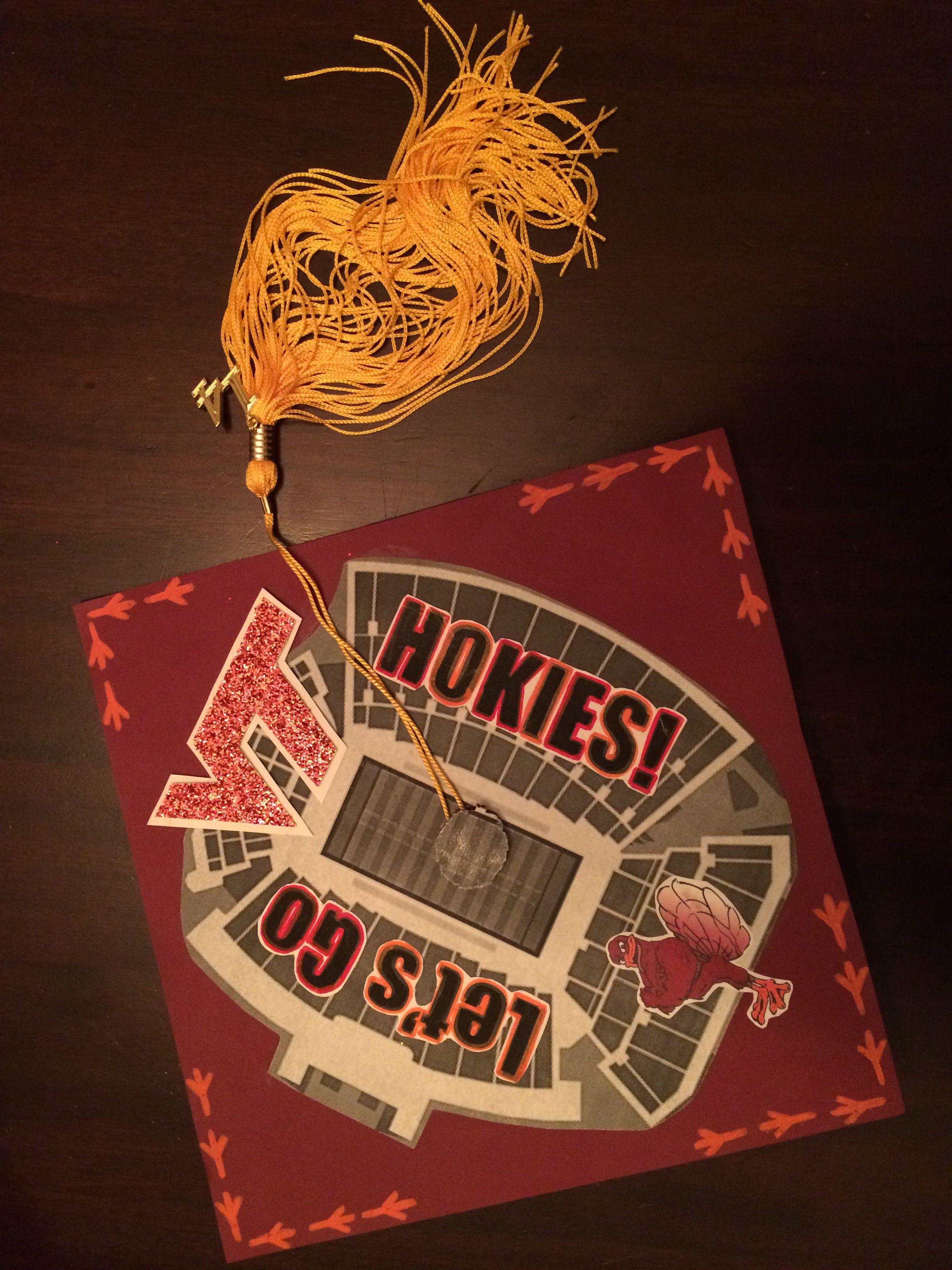 Decorated graduation cap Virginia Tech Hokies Lane Stadium