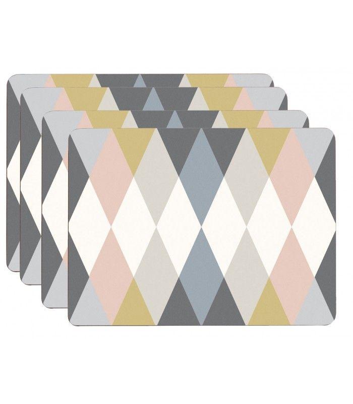 de table design en liège stratifié multicolore arlequin - set de 4