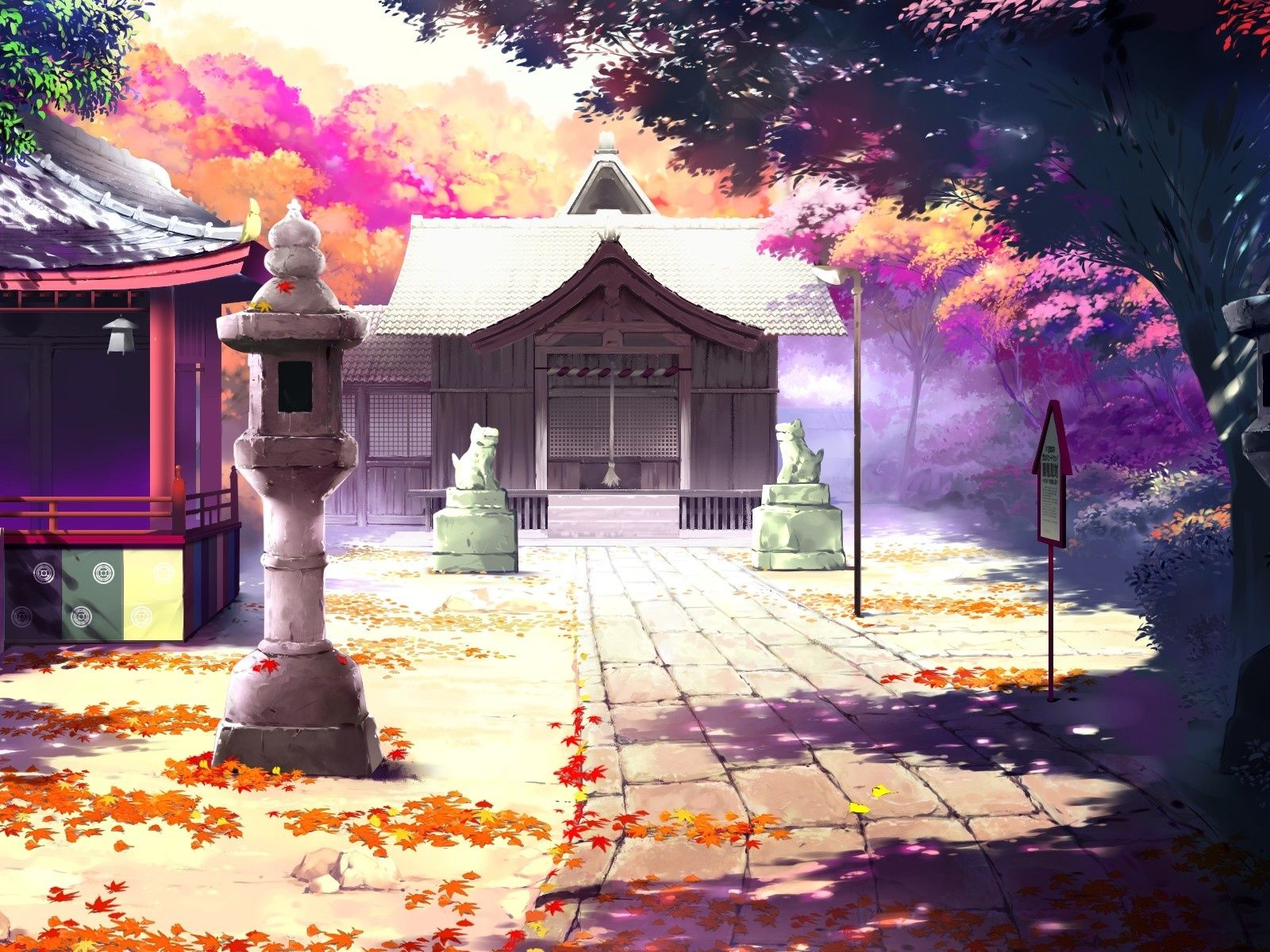 Beautiful Anime Scenery Houses Autumn Wallpaper 1600x1200 Resolution Wallpaper Download Best Wall Anime Scenery Wallpaper Scenery Wallpaper Anime Scenery