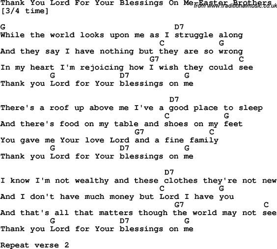 Country, Southern And Bluegrass Gospel Song Thank You Lord
