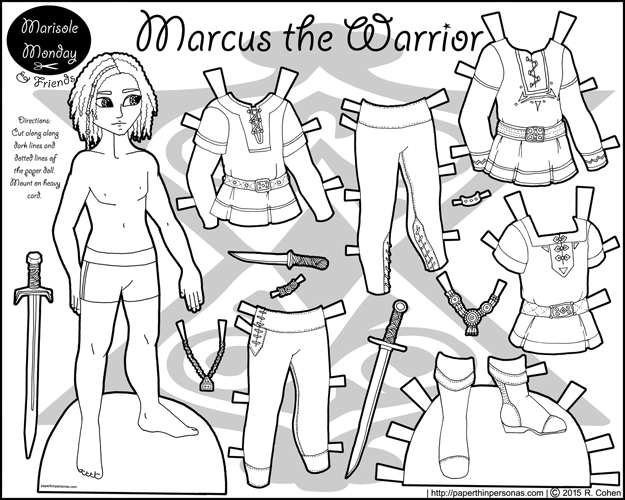 Marcus as a Warrior: A Paper Doll to Color | Recortables