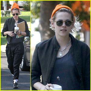 Kristen Stewart Rocks Orange Beanie & Hits the Books