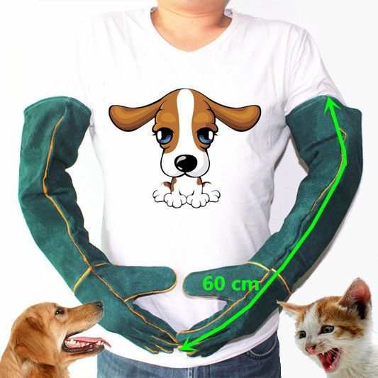 Anti-bite safety gloves for Catch dog,cat,reptile,animal Ultra long leather green anti Pets grasping biting protective gloves