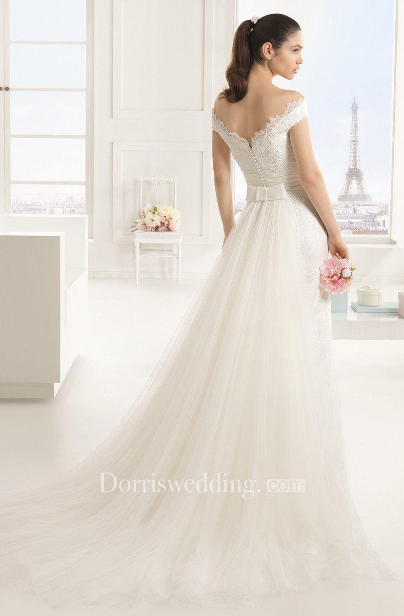 5cd7e553d23 Noble Lace Off-Shoulder Dress With Watteau Train - Dorris Wedding
