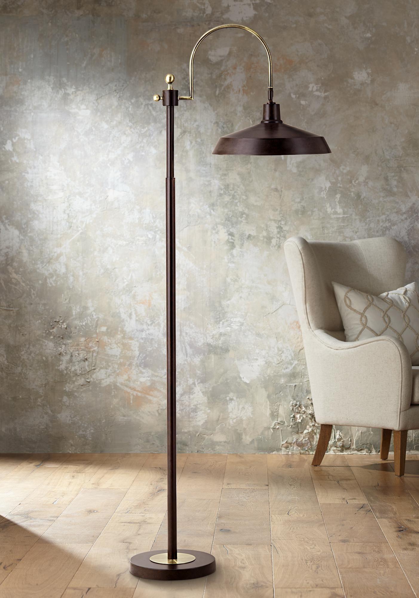 Nate Bronze Industrial Downbridge Floor Lamp