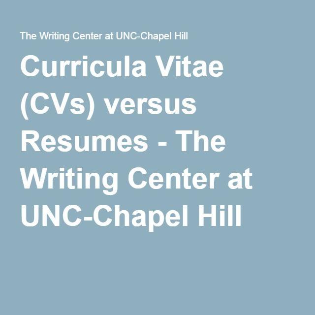 Curricula Vitae (CVs) Versus Resumes