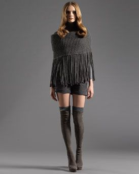 -3AV8 Gucci Cape with Zip Detail, Long-Sleeve Turtleneck Sweater & Cuffed Shorts