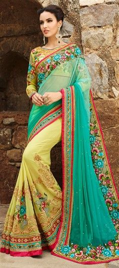 Photo of 180741: Green, Pink and Majenta  color family Bridal Wedding Sarees   with matching unstitched blouse.