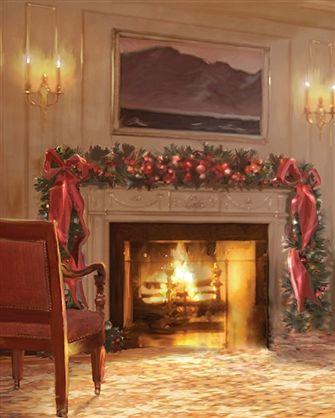 Christmas Fireplace Printed Backdrop Backdrop Express