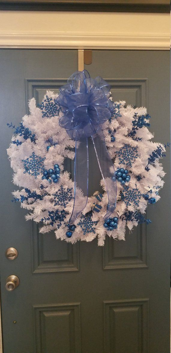 Christmas Wreath (white w/blue) Christmas mesh wreaths