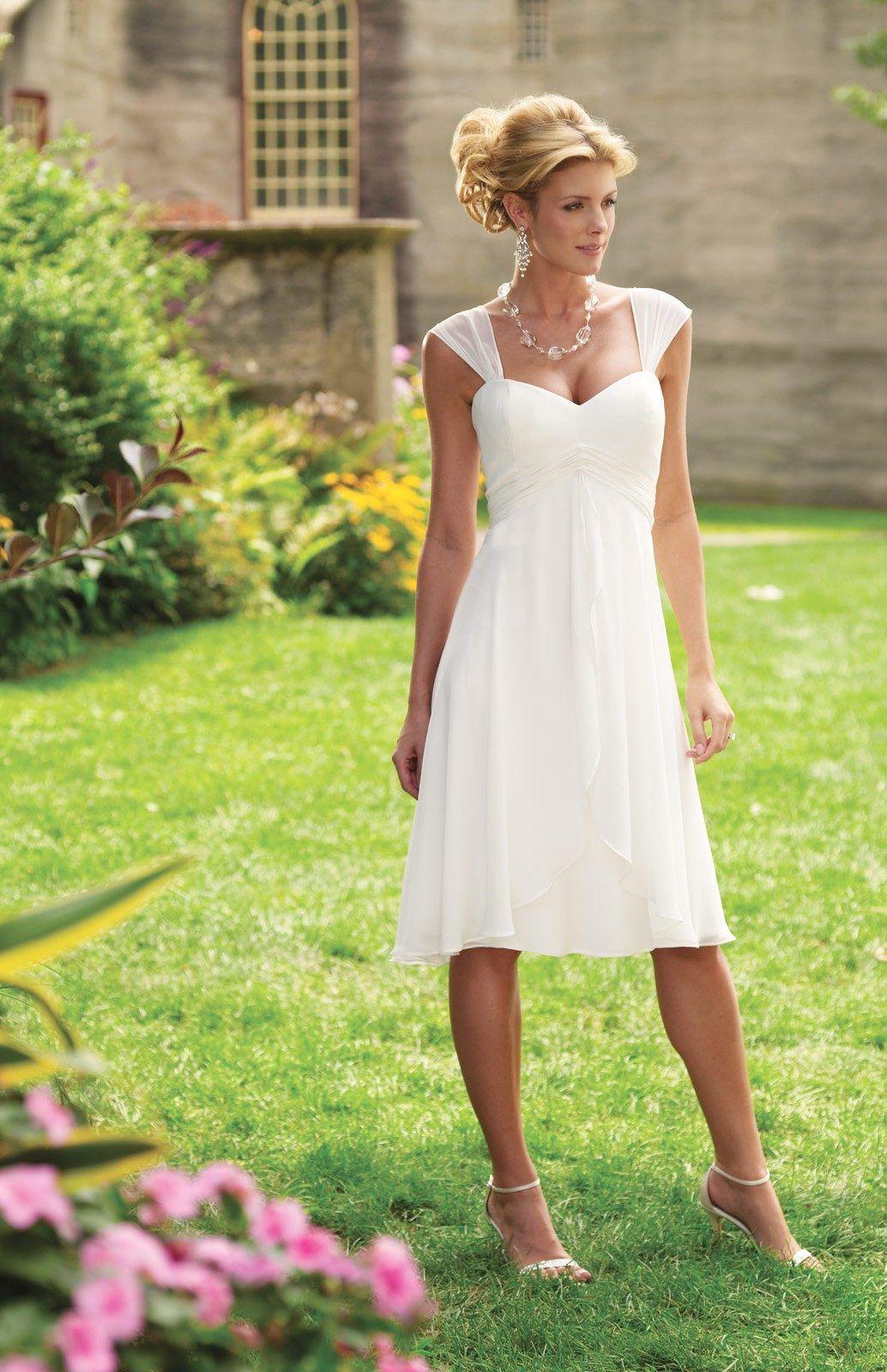 Straps empire waist kneelength wedding dress wedding pinterest