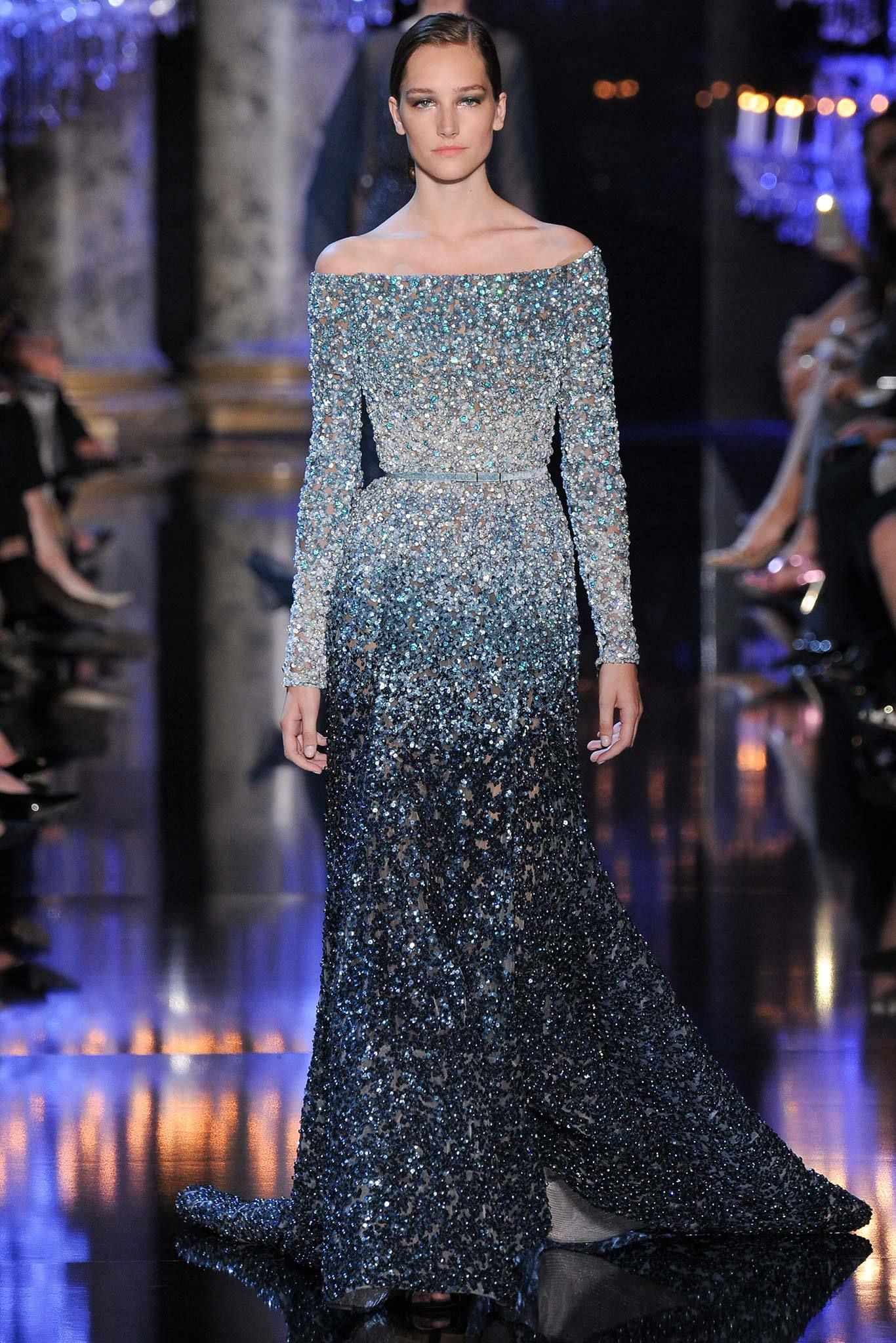 Elie Saab | Fall 2014 Couture | 9 Green embellished dip ...