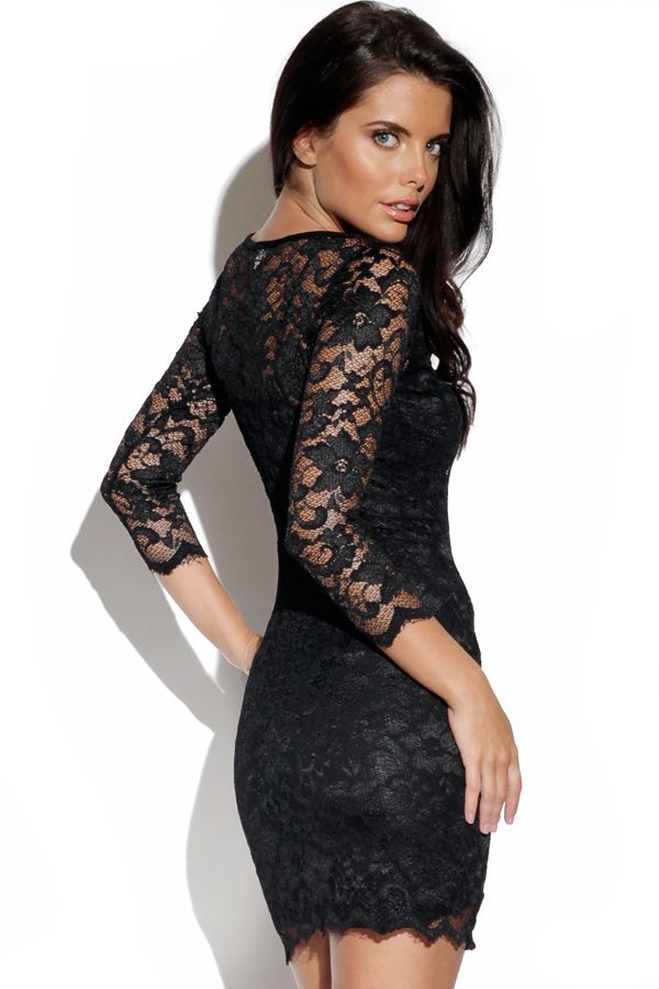 Black Lace Dress with Sheer Sleeves | Lace, Sleeve dresses and ...