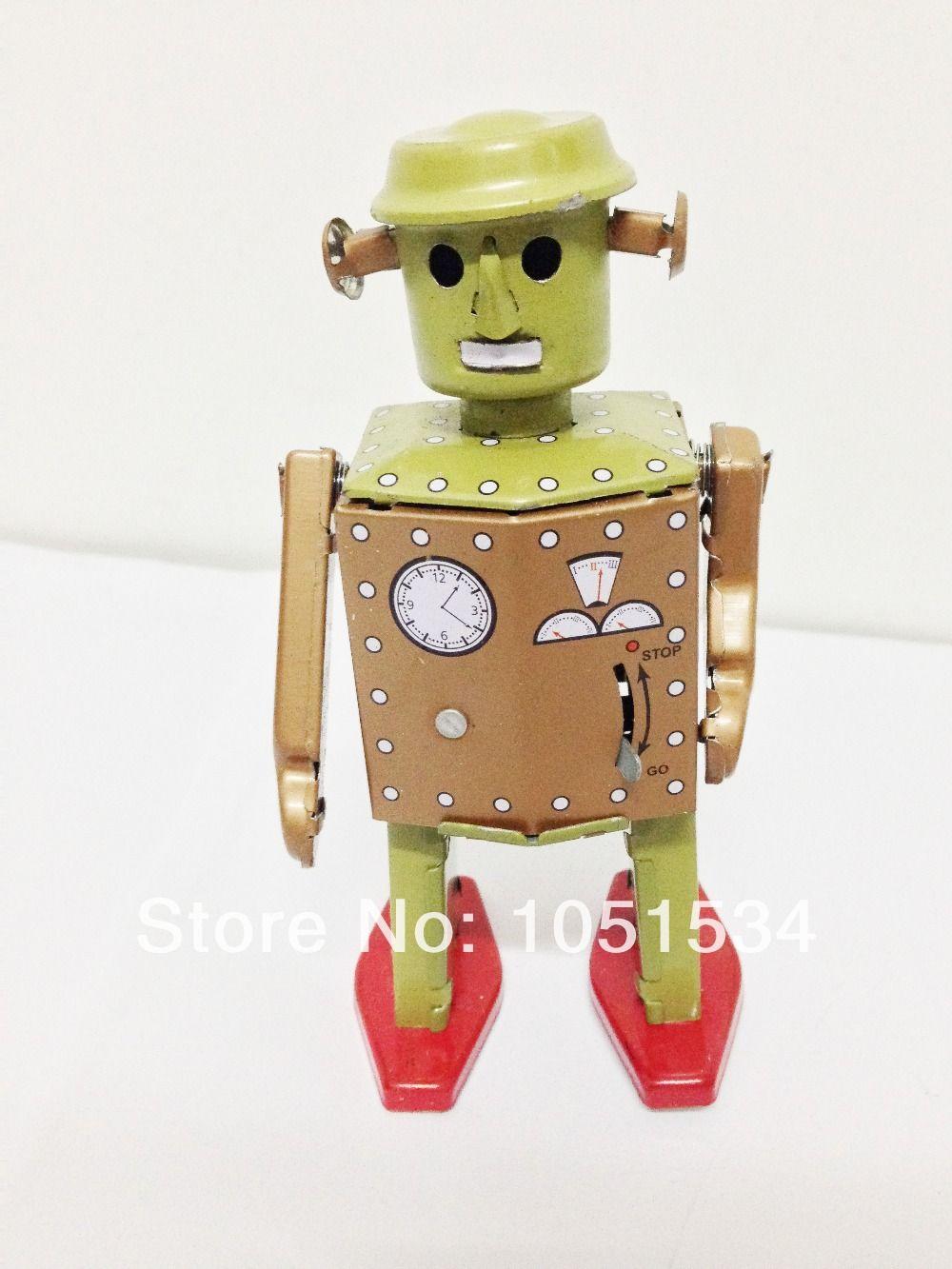 free shopping 2 pcs retro clássico relógio lata brinquedo robô 415#umming exportações colecionáveis 39.00