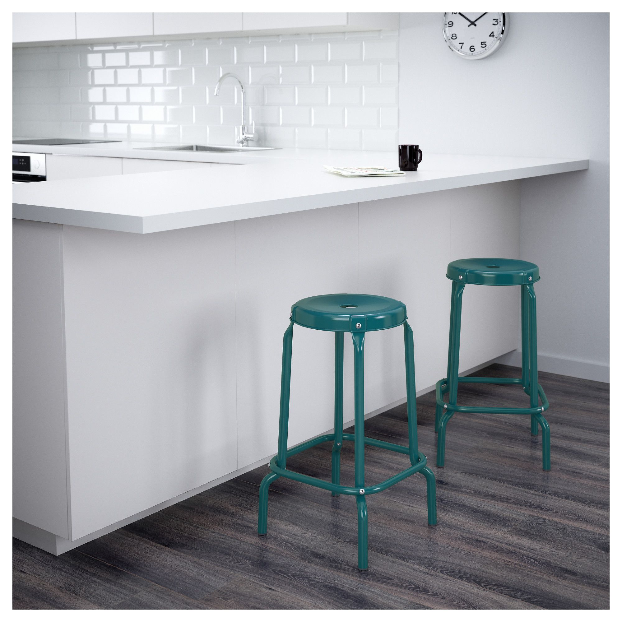 IKEA R…SKOG bar stool Easy to move thanks to the hole in the seat