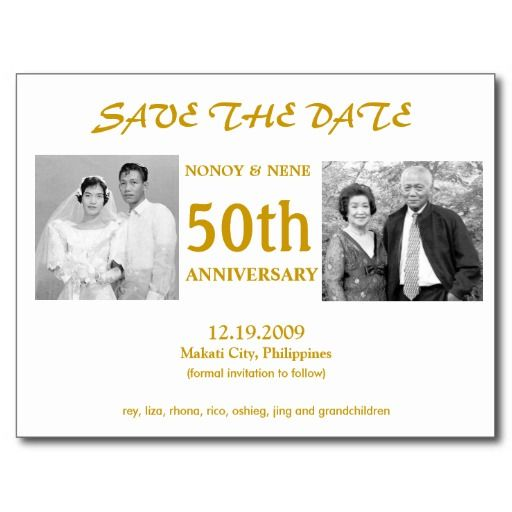 Discount 50TH SAVE THE DATE POST CARDS 50th Wedding AnniversaryAnniversary