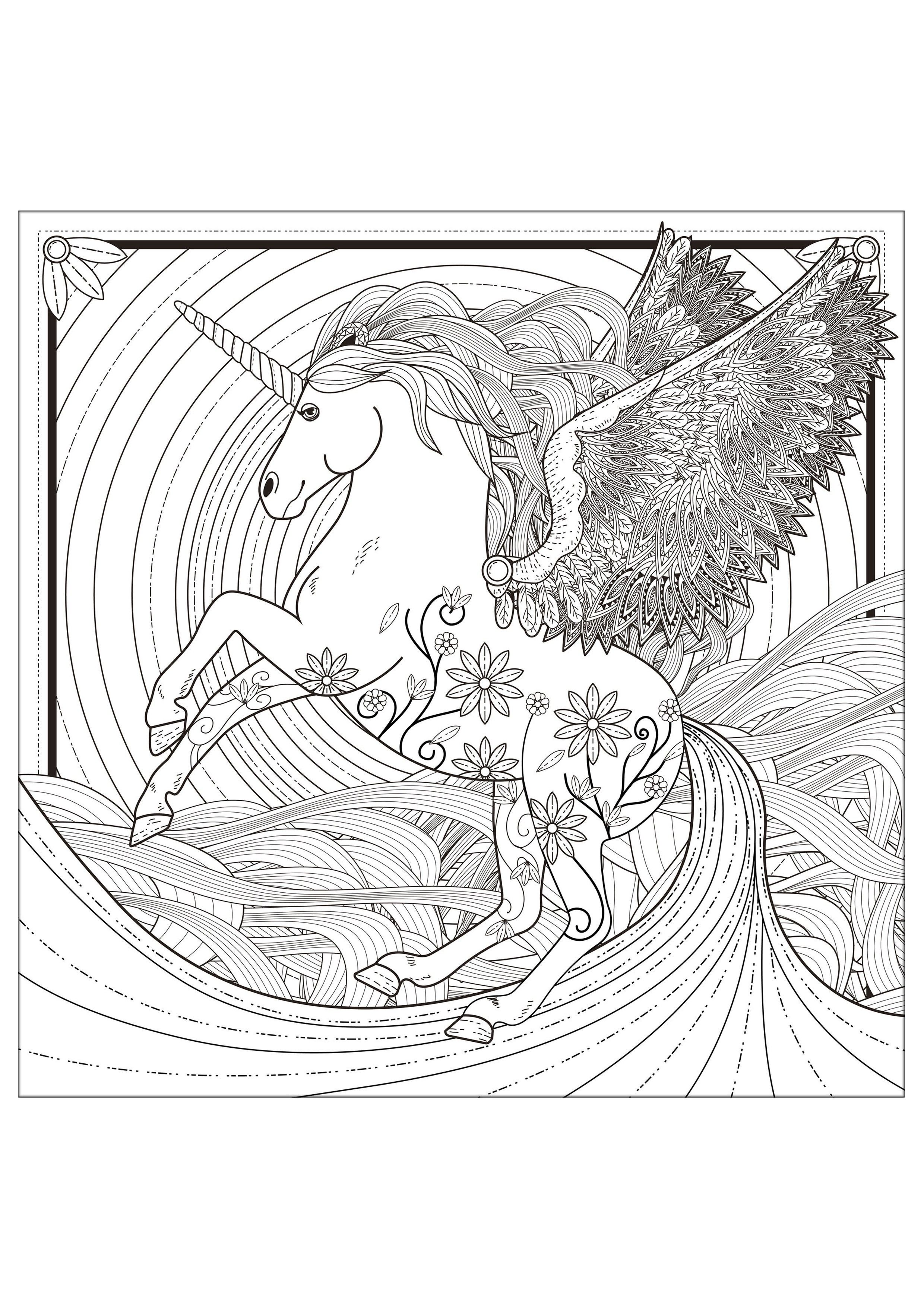 Unicorn Unicorns Difficult Coloring For Adults Paginas Para Colorear Dibujos Para Colorear Adultos Imagenes Para Colorear Para Adultos