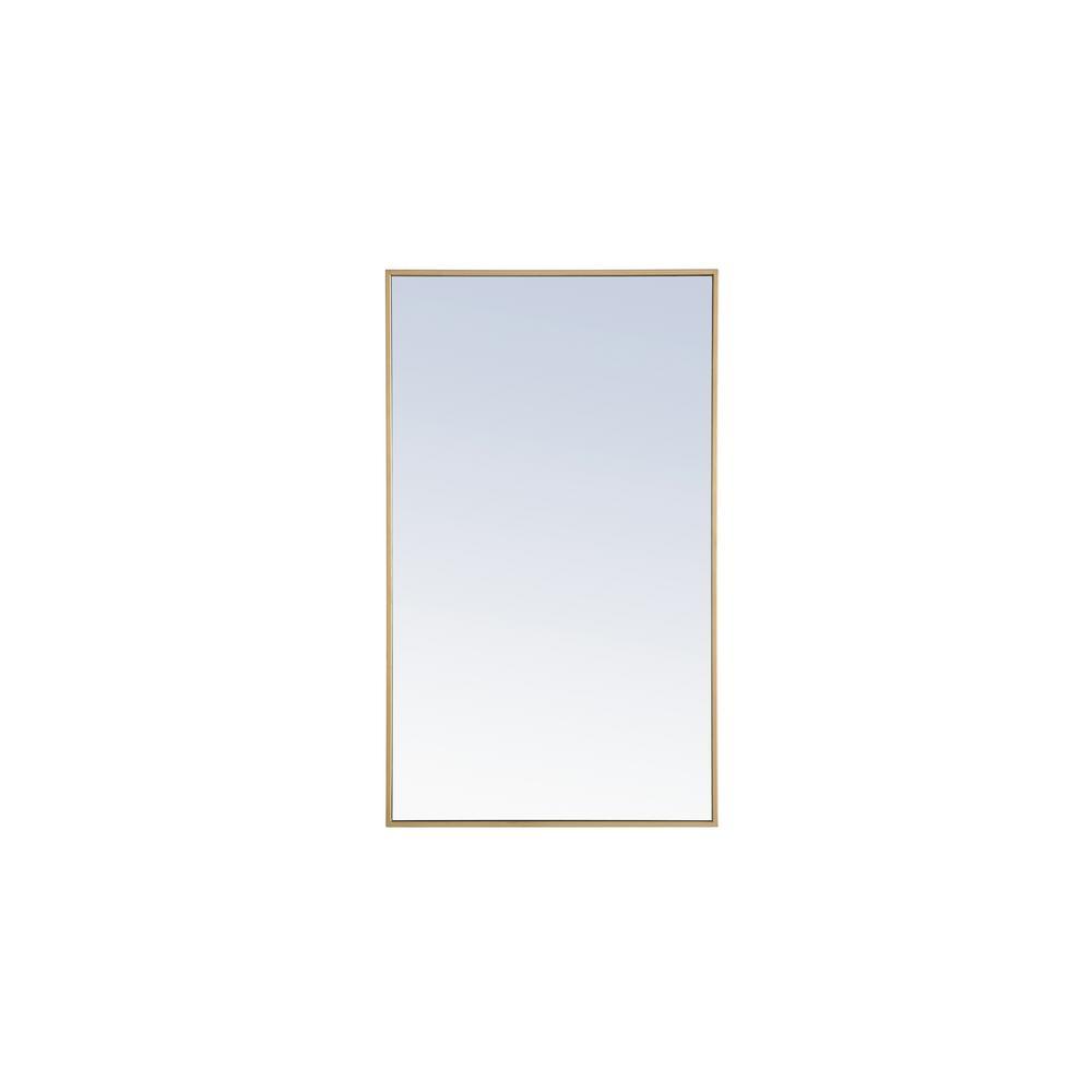 Medium Rectangle Brass Modern Mirror 40 In H X 24 In W Wm8150brass The Home Depot Mirror Wall Framed Mirror Wall Modern Mirror