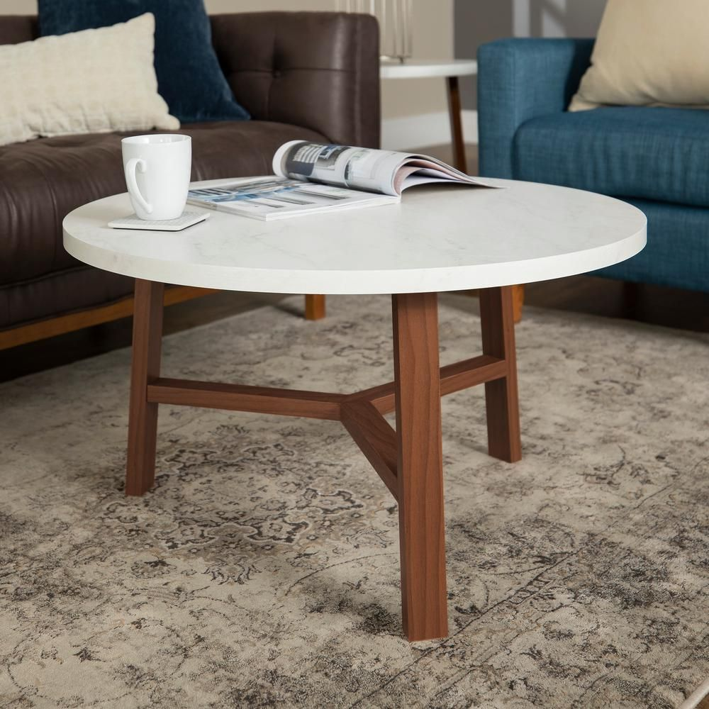 Walker Edison Furniture Company 30 In White Acorn Medium Round Marble Coffee Table Hdf30emctpc The Home Depot Coffee Table Round Coffee Table Stylish Coffee Table [ 1000 x 1000 Pixel ]