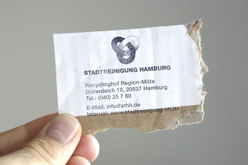 Recycling Visitenkarten Für Die Stadtreinigung Hamburg