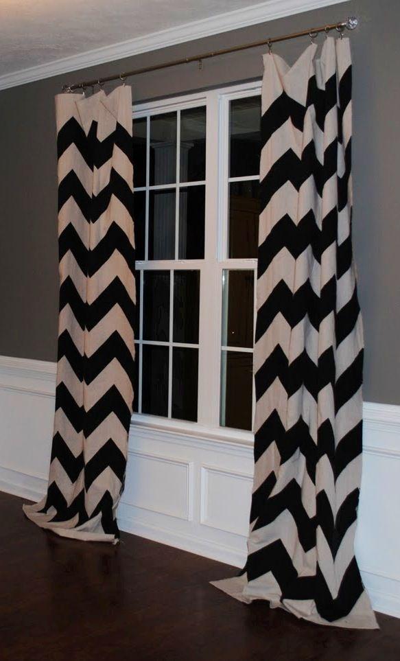 Black And White Chevron Curtains Against Grey Wall U003c3