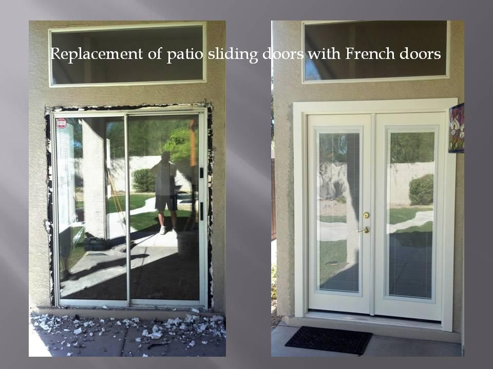 Removing patio sliding door and installing French doors with mini blinds.  The mini blinds are between two glass, no need to ever clean the blinds. - Removing Patio Sliding Door And Installing French Doors With Mini