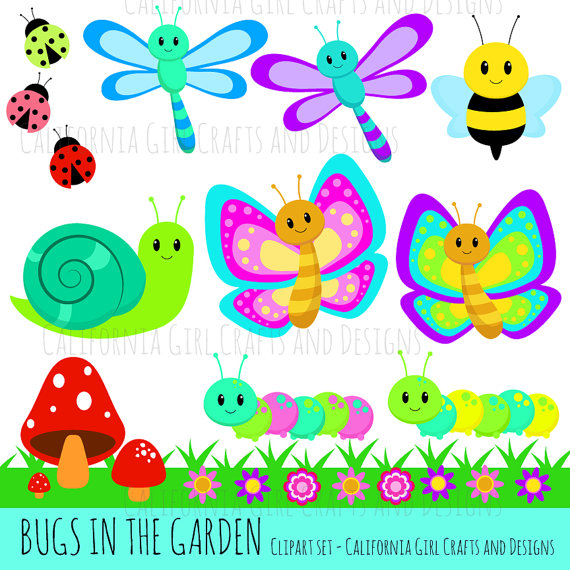 Bugs In The Garden Clipart Set Cute Dragonflies Etsy In 2021 Springtime Crafts Clip Art Projects For Kids