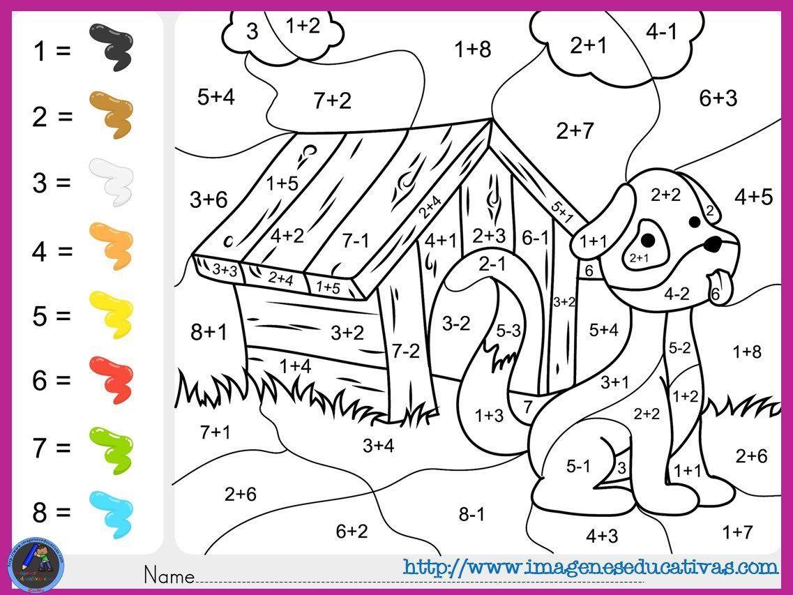 Juegos De Colorear: Fichas-de-matematicas-para-sumar-y-colorear-dibujo-5