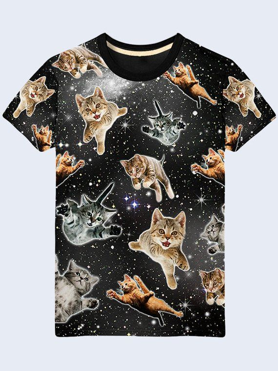 417713636cbb Flying Cats Funny T Shirt, Outer Space Mens Shirt, Cat Shirt, Cute ...
