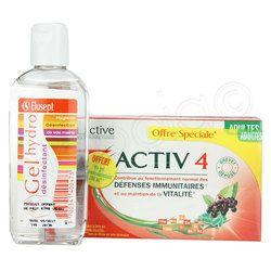 Activ4 Adultes Défenses Vitalité. Lot 2x28 gélules + Gel Hydrodésinfectant 100ml OFFERT - Naocia