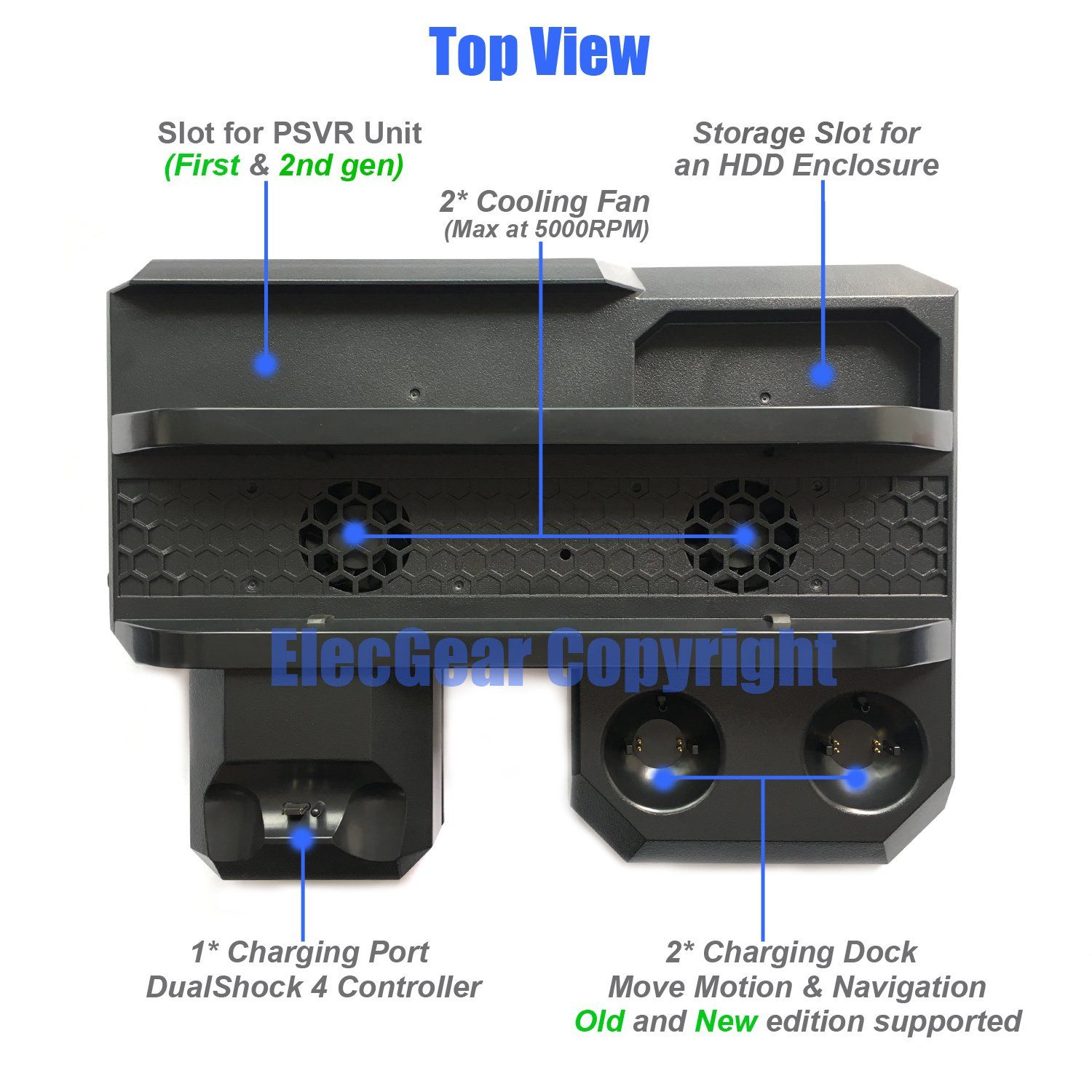 Elecgear Playstation Vertical Stand Docking Station Limited