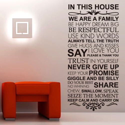House Rules Family Love Large Wall Stickers Quotes Decals Home Lettering Art Sayings Large