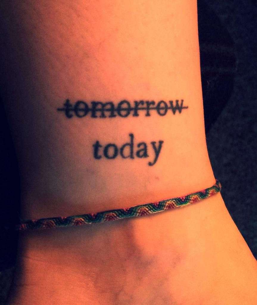 word tattoo on inside ankle don't procrastinate do it ...