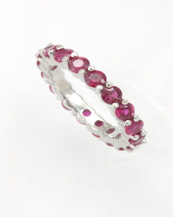 2a868bacdb0d5f Ruby Eternity Ring 14K White Gold Ladies Rings by kokosjewelry, $1086.00
